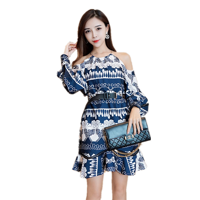 2019 Autumn new women's dress clothes fashionable sexy dew shoulder printed patchwork Lace dress. STPRRES