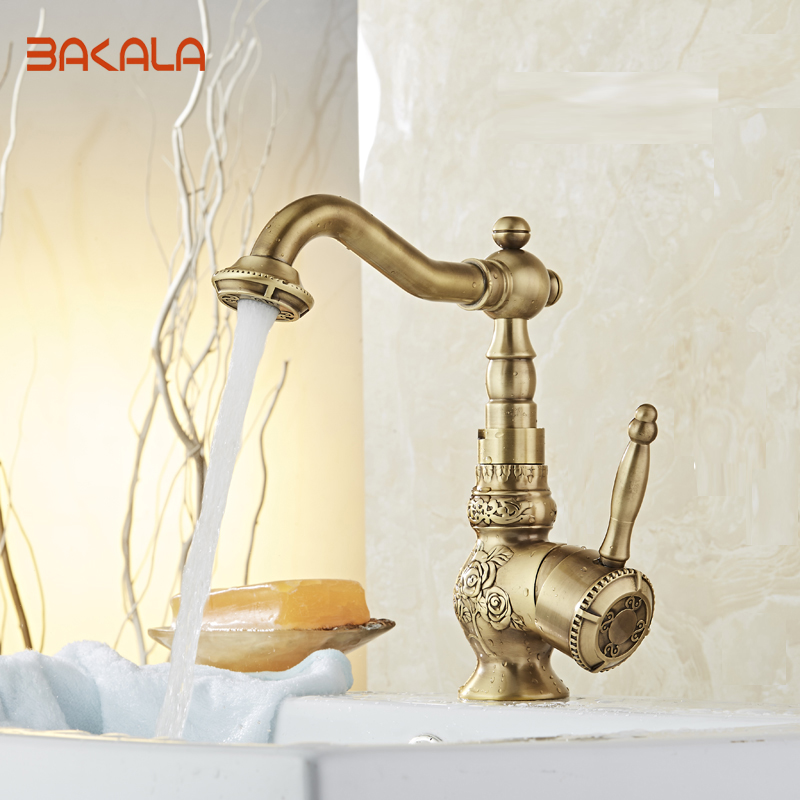 Bakala New Arrive Deck Mounted Single Handle Bathroom Sink Mixer Faucet Antique Brass Fine Arts Hot and Cold Water  BR-10702 brand new deck mounted chrome single handle bathroom