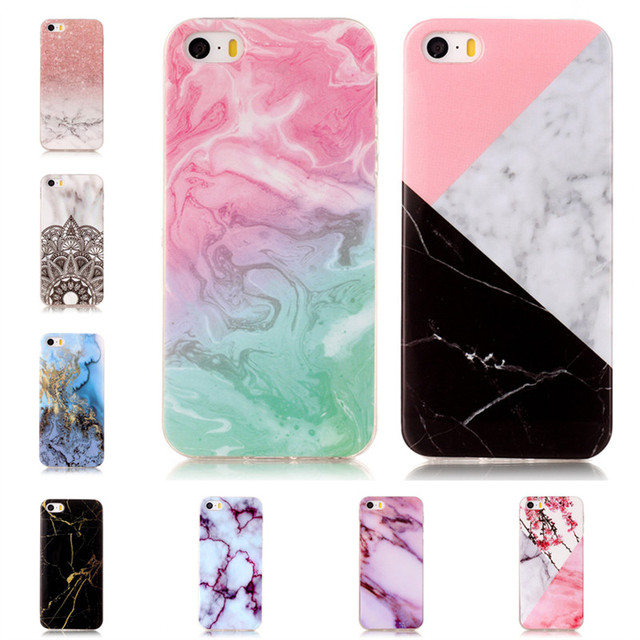 best service 10b9b 6fafb US $2.54 15% OFF|Marble Style Phone Cases for iPhone 5s Soft Back Cover  Rubber Granite Case for iPhone 5 se Mobile Shell for iPhone 5se Carcasas-in  ...