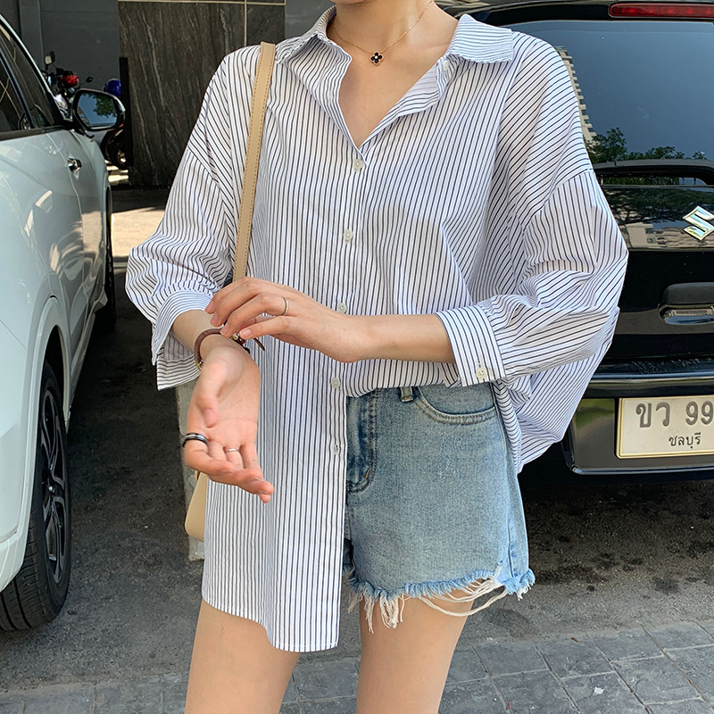 2019 Loose Leisure Back Hollow Irregular Striped Shirt Woman Striped Turn down Collar Broadcloth Women Shirts Blouse in Blouses amp Shirts from Women 39 s Clothing