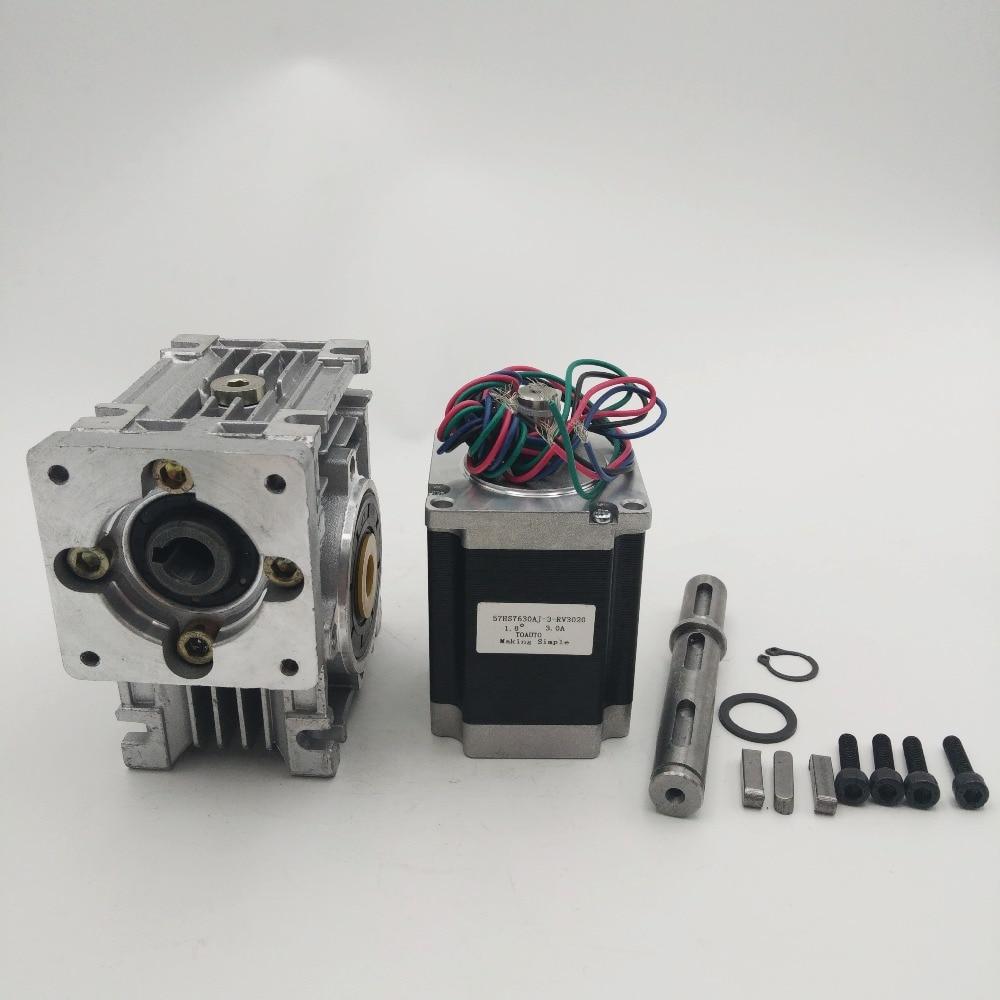 Ratio 20:1 self-lock High-Torque L76mm NEMA23 3A RV30 Turbine Worm Gearbox Geared Stepper Motor Decorating machine nema23 geared stepping motor ratio 50 1 planetary gear stepper motor l76mm 3a 1 8nm 4leads for cnc router