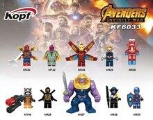 Super Heroes Egyszeri eladó Vision Spider-Man Thanos Kapitány Amerika Avengers INFINITY WAR Építőelemek Gyerek Ajándék Játékok KF6033