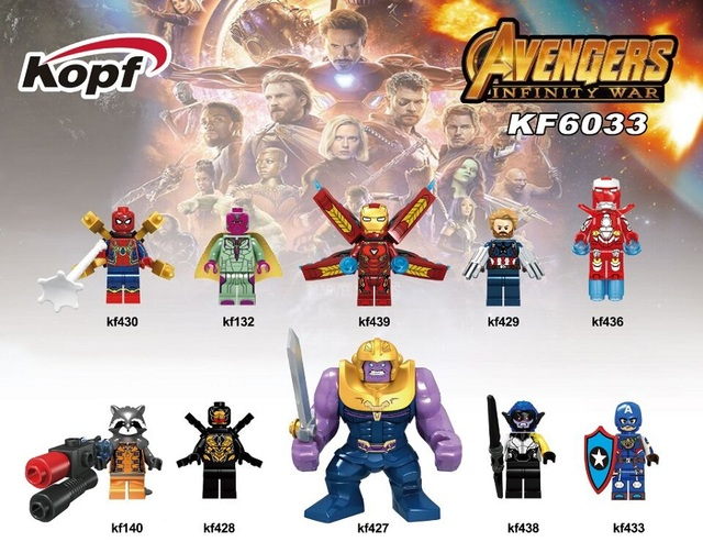 Super Heroes Single Sale Vision Spider Man Thanos Captain America Avengers INFINITY WAR Building Blocks Kids 640x640