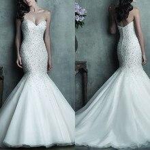 New Sweetheart Beaded Mermaid Wedding Dresses 2019 Elegant Organza Gowns Bridal With Crystals Vestido De Novia