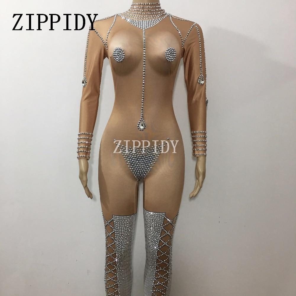 Bright Rhinestones Sexy Jumpsuit Nightclub Striptease Dance Women's Stage Prom Celebrate Female Singer One Piece Nude Clothing