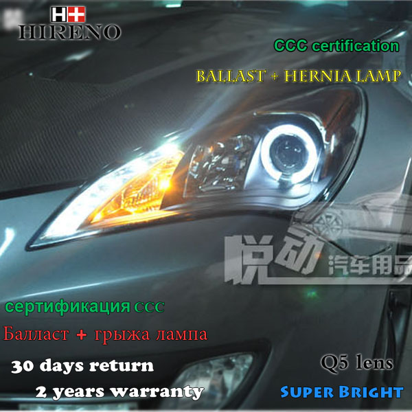 Hireno Headlamp for 2009-2011 Hyundai Genesis coupe Headlight Assembly LED DRL Angel Lens Double Beam HID Xenon 2pcs
