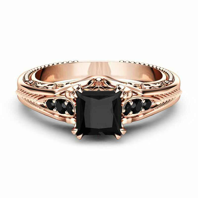 ZHOUYANG Rings For Women Luxurious Square Cut Four Claws Black Cubic Zirconia Rose Gold Color Party Gift Fashion Jewelry KAR382