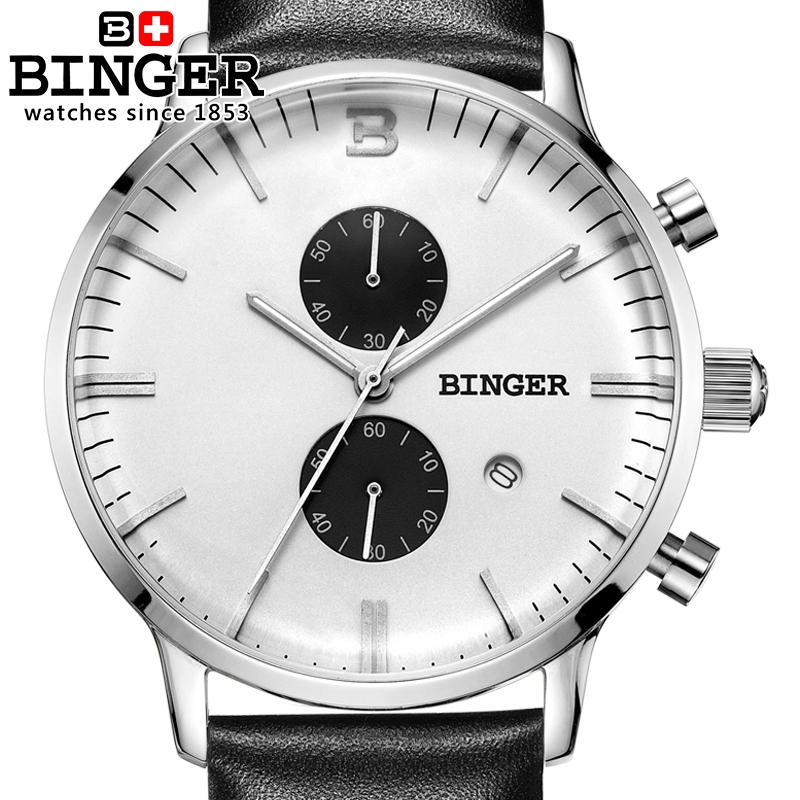 Switzerland men's watch luxury brand Wristwatches BINGER Quartz clock glowwatch leather strap Chronograph Diver B1122-4 switzerland relogio masculino luxury brand wristwatches binger quartz full stainless steel chronograph diver clock bg 0407 3