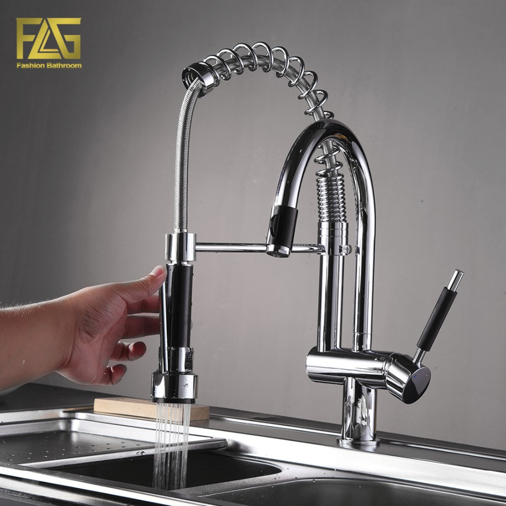 FLG Spring Style Kitchen Faucet Hand Spray Chrome Cast Deck ...