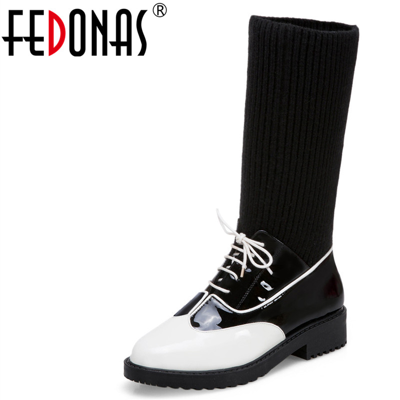 FEDONAS1Fashion Women Mid-Calf Boots Patent Leather Autumn Winter Warm High Heels Shoes Pointed Toe Cross-tied Socks Boots Pumps ombre circle calf length socks
