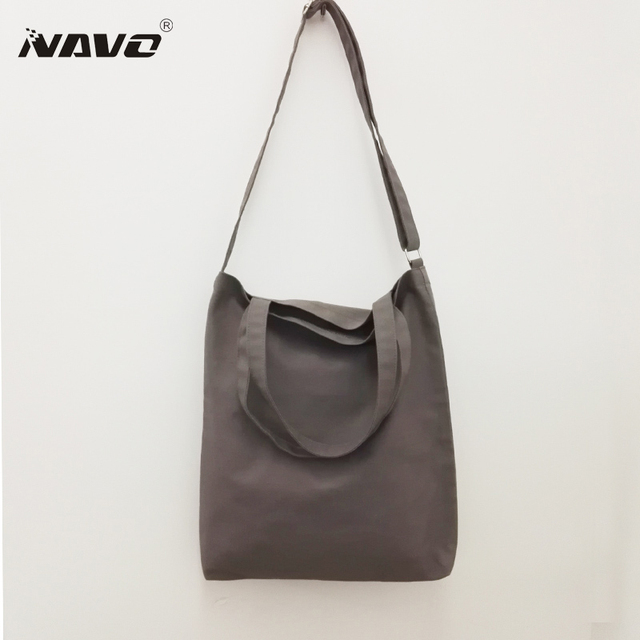 NAVO 12OZ Canvas Shopping Bag Women Casual Tote Lady Large Crossbody Bag Bolsas quality shoping bag New Women's Shoulder Bags