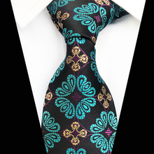 Fashion New Floral Jacquard Woven Paisley Tie for Men Silk Neckties 8cm Man Ties Wedding Party Business Suit Necktie Black Green