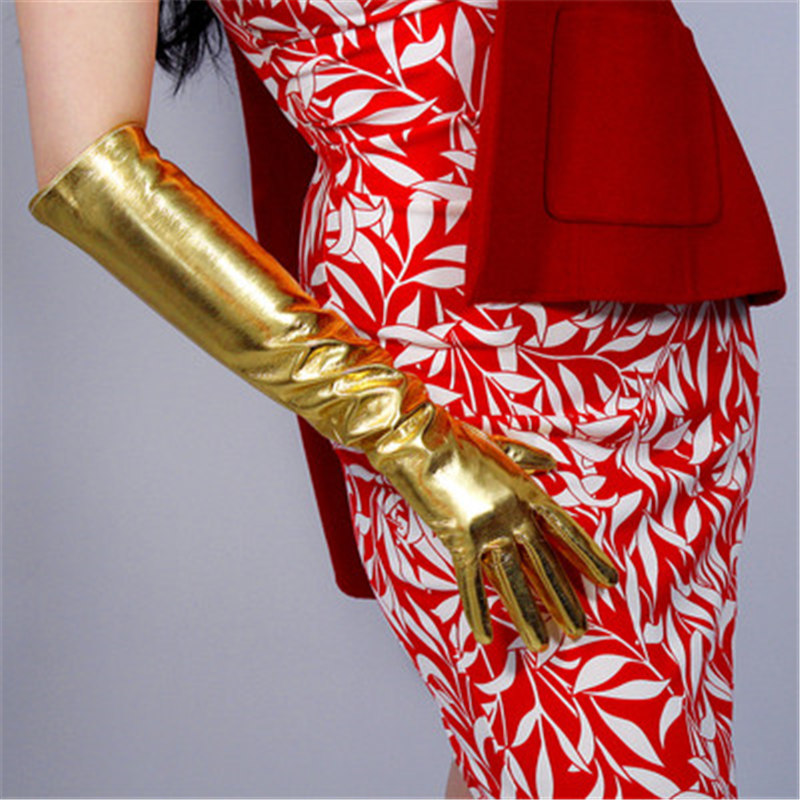 Patent Leather PU Gloves Female High Elastic Simulation Bright Gold Womans Cosplay Dance Party P1370-2