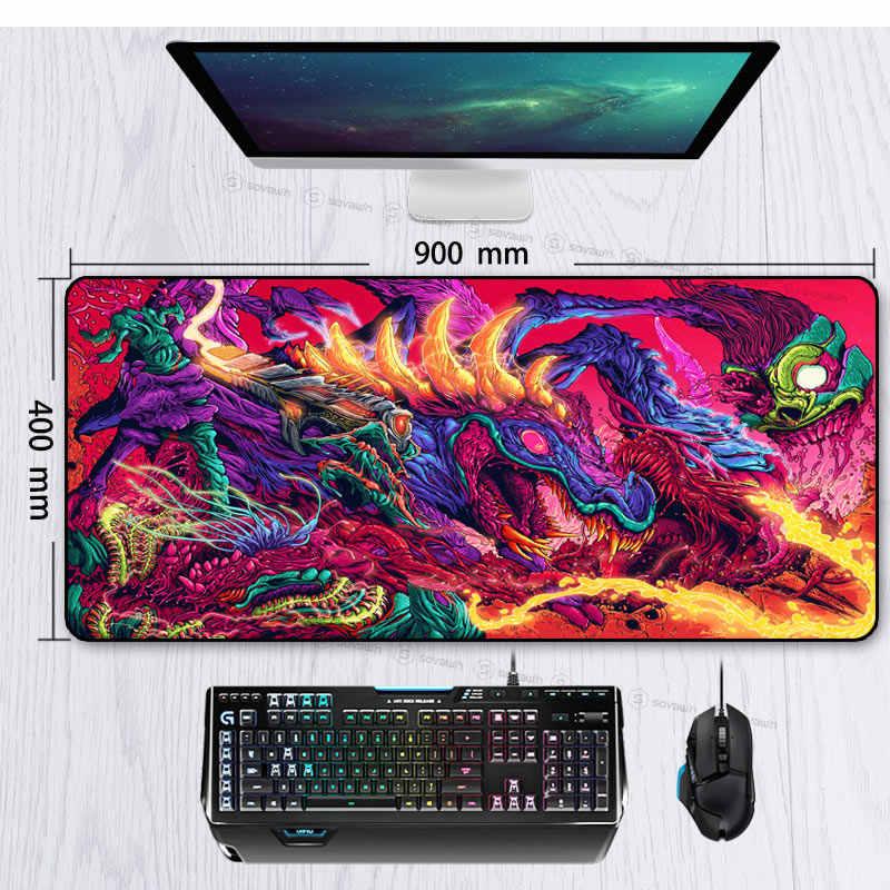 ゲーム 900 × 400 ミリメートルハイパー獣 XL 大ロックエッジゲーミングマウスパッド CS 行くキーボードゴムマウスパッド手首残りテーブルコンピュータマット