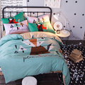 Cartoon Fox Dog Parrot Bedding Set Queen Twin Size 100% Cotton Duvet Cover Sets  bed sheet or fitted sheet bedspread
