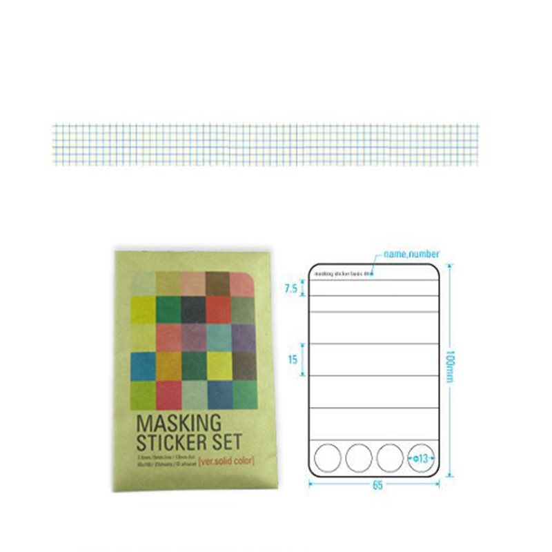 Купить с кэшбэком 27pcs/pack  MASKING STICKER SET  with kraft paper package   Multifunction DIY Paper Stickers  gift label