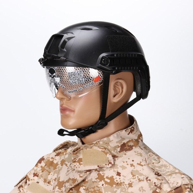 Велосипедный Спорт Airsoft Пейнтбол игра Военная Униформа Тактический BJ Тип База Jump Шлем с защитные очки ОНВ Крепление боковой направляющей duty...