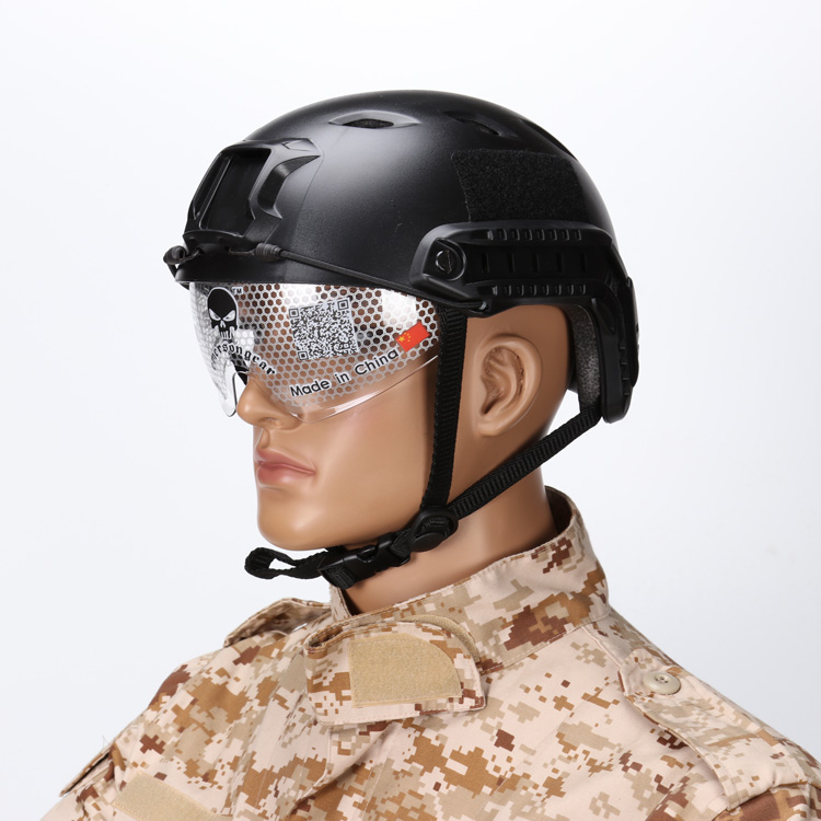 Bicycle Airsoft Paintball Game Military Tactical BJ Type Base Jump Helmet with Protective Goggles NVG Mount Side Rail Duty Gear