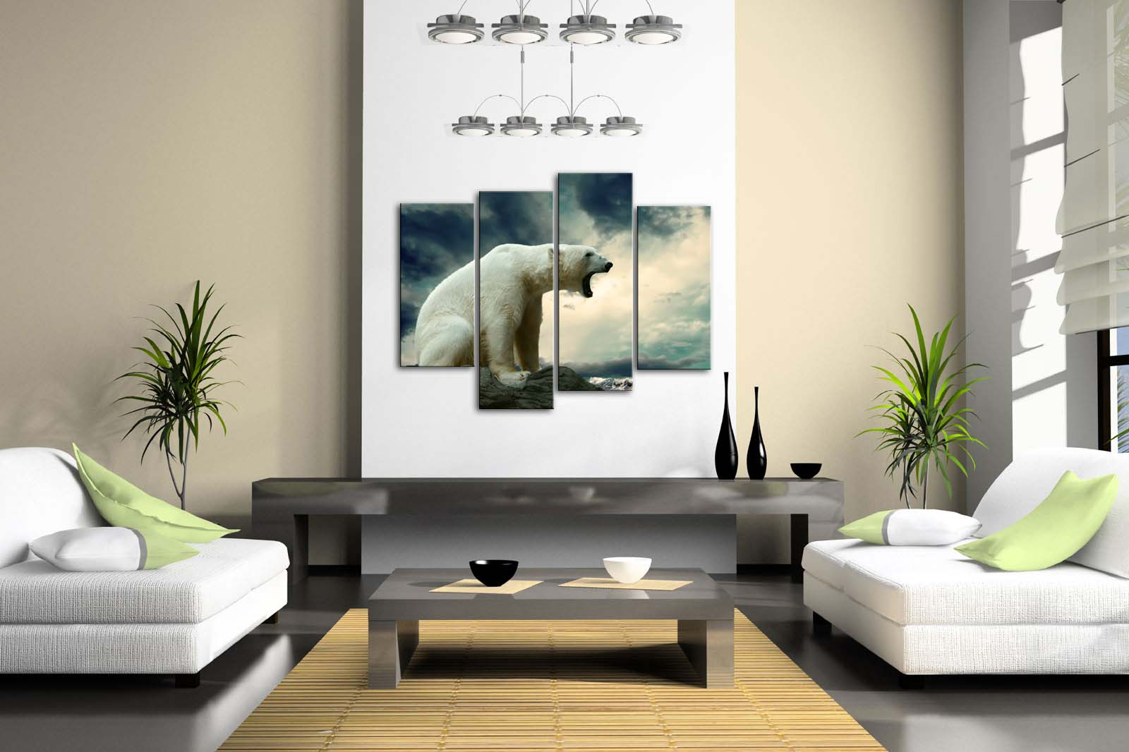 Framed Wall Art Pictures Polar Bear Rock Beach Canvas Print Animal Posters With Wooden Frames For Home Living Room Decor - 2