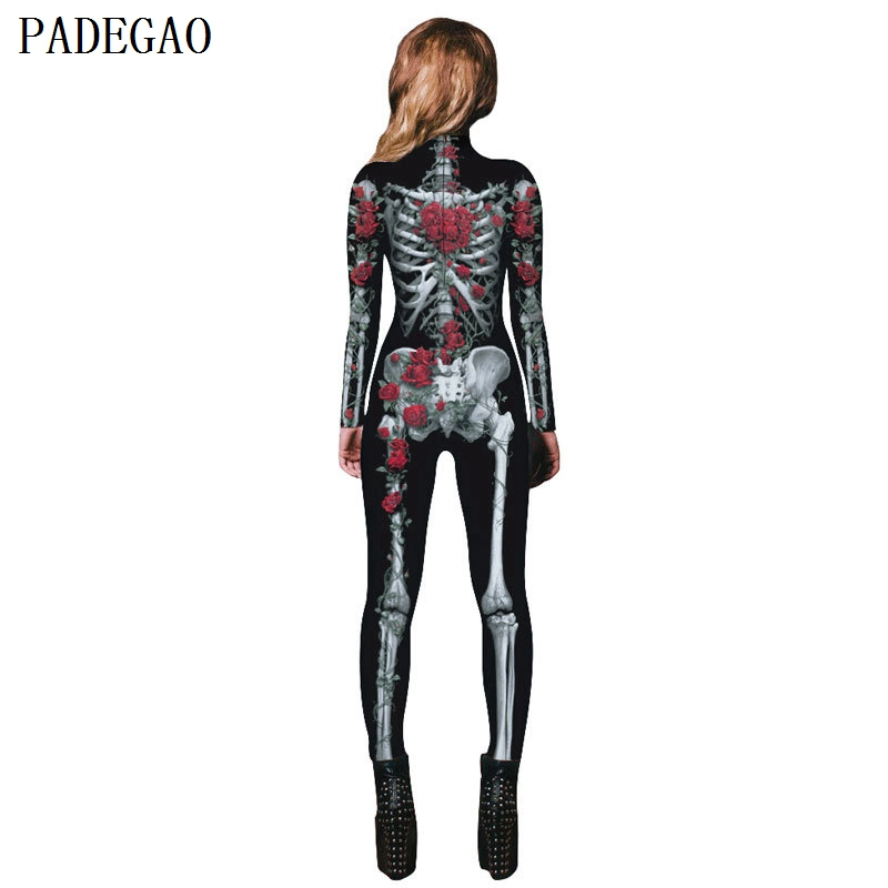 5f919ed120 PADEGAO skinny gothic jumpsuits digital rose printing skull long sleeves  bodysuit zipper up rompers women casual party jumpsuit-in Jumpsuits from  Women s ...