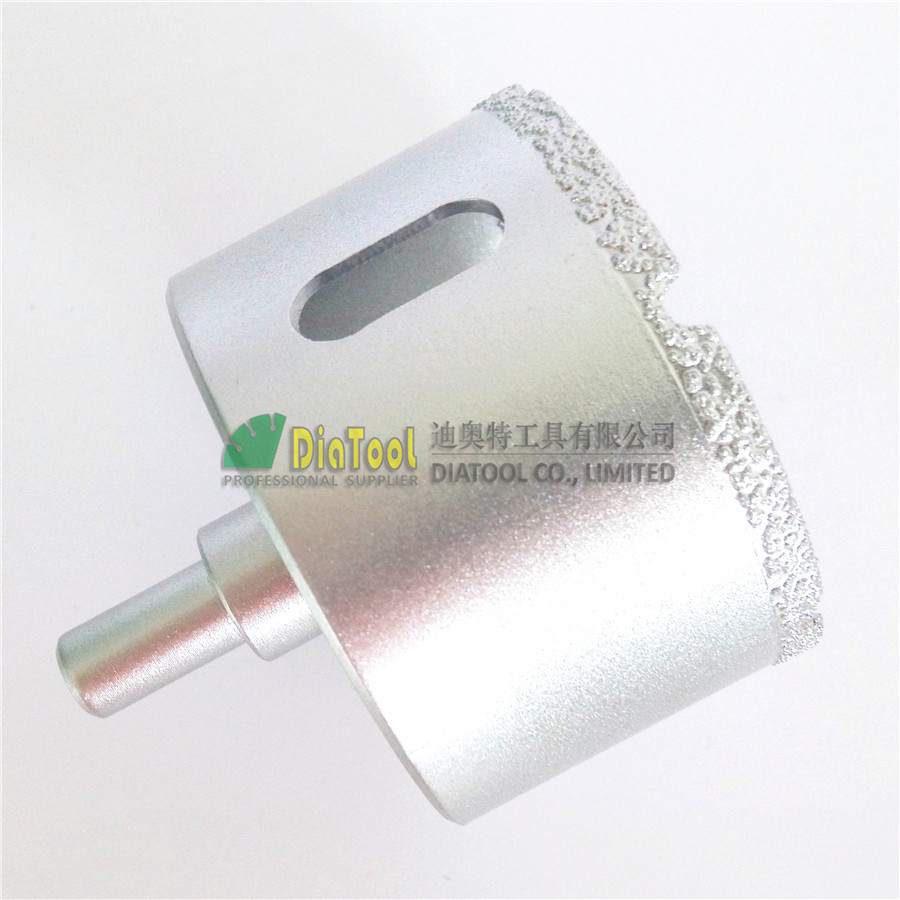 DIATOOL Dia 65mm Vacuum Brazed Diamond Core Bits With Round Shank For Wet Drilling 2pcs dia 6mm vaccum brazed diamond drilling bits 10mm round shank dry drilling for stone masonry