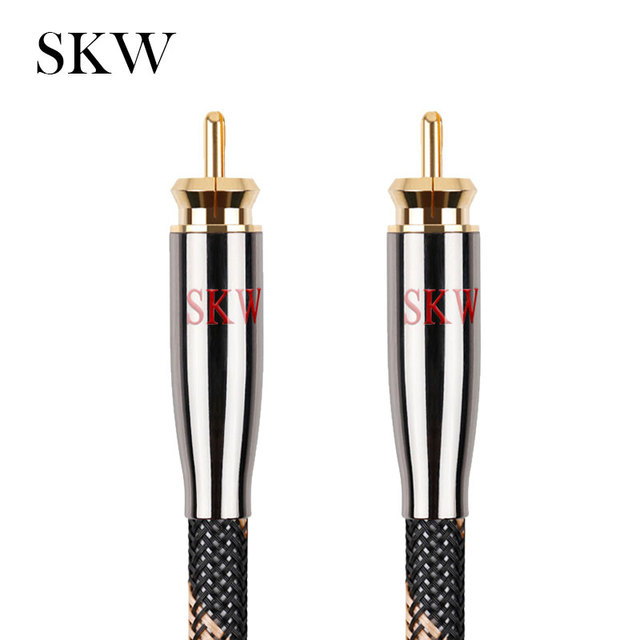 Câble Audio SKW RCA Subwoofer mâle vers mâle Coaxial numérique 6N OCC 1 M, 1.5 M, 2 M, 3 M, 5 M, 8 M, 10 M, 12 M, 15M pour amplificateur de Subwoofer de voiture