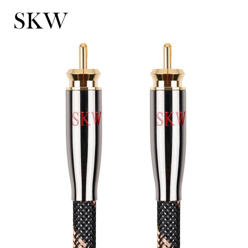 SKW Audio RCA kabel męski na męski Subwoofer cyfrowe koaksjalne 6N OCC 1 M, 1.5 M, 2 M, 3 M, 5 M, 8 M, 10 M, 12 M, 15M dla samochodów Wzmacniacz subwoofera na AliExpress - 11.11_Double 11Singles' Day 1