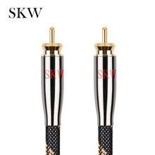SKW Cable de Audio RCA macho a macho Subwoofer Digital Coaxial 6N OCC 1M, 1,5 M,2M,3M,5M,8M,10M,12M,15M para amplificador de Subwoofer de coche