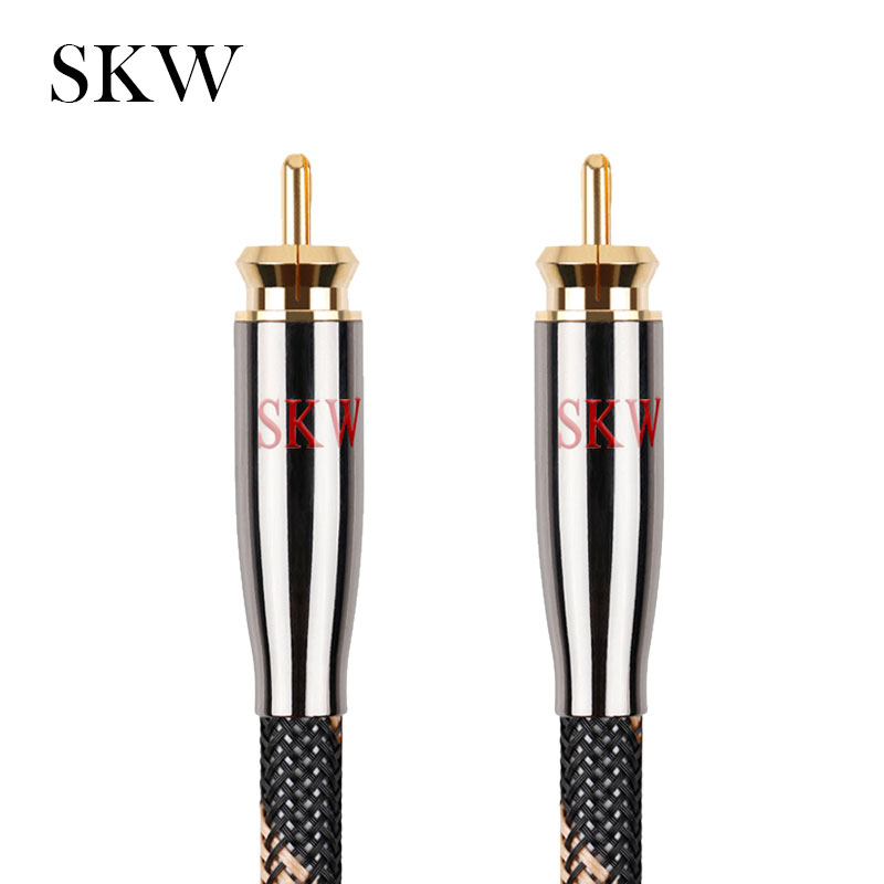 SKW RCA Audio Cable Male To Male Subwoofer Digital Coaxial 6N OCC 1M,1.5M,2M,3M,5M,8M,10M,12M,15M For Car Subwoofer Amplifier