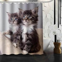 Best Nice Custom Cat Animal Pet Shower Curtain Bath Curtain Waterproof Fabric Bathroom MORE SIZE WJY
