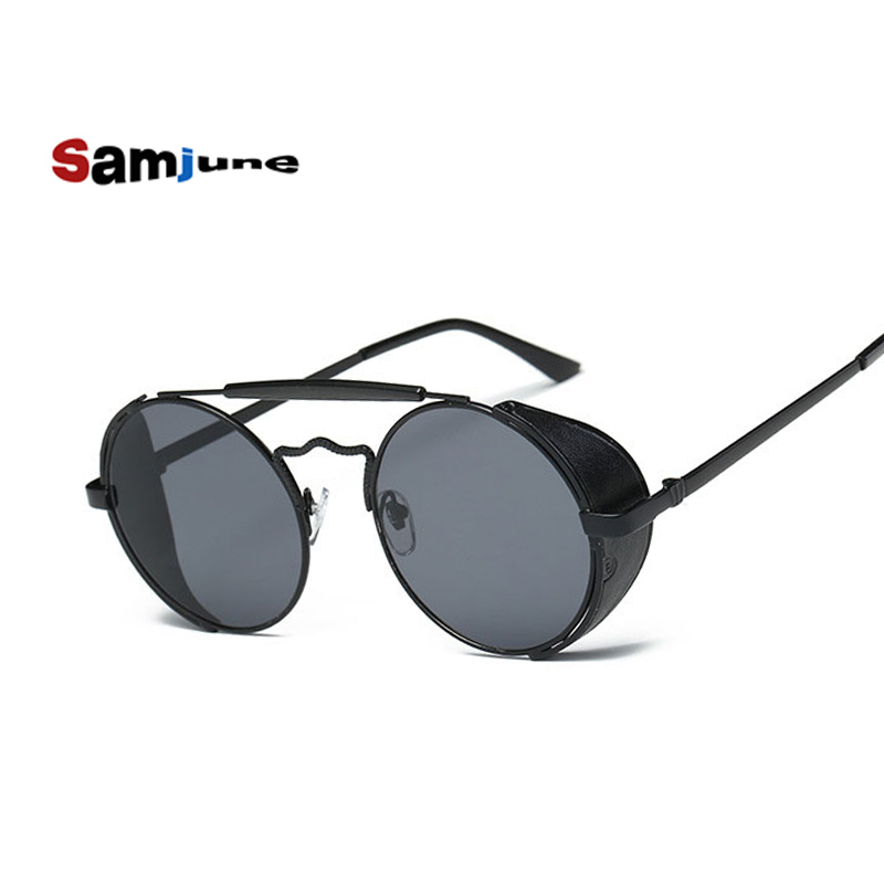 Round Metal Frame Steampunk Sunglasses Men Women Fashion Glasses Brand Designer Retro Vintage Redonda Sunglasses UV400 shades