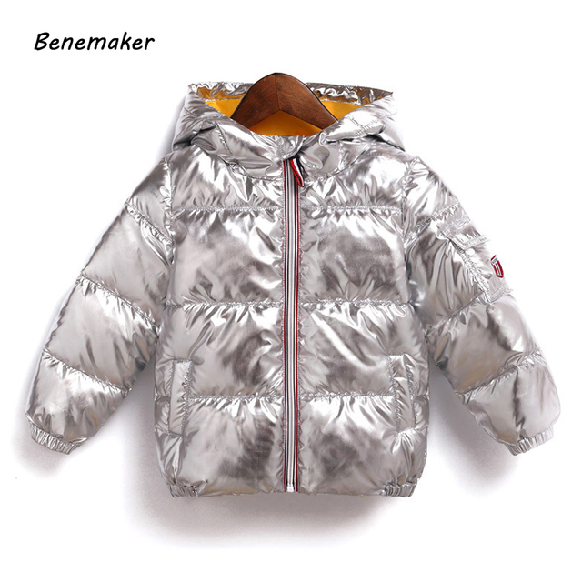 Best Price Benemaker Winter Jackets For Girl Boy 3-10Y Children's Clothing Warm Coats Overalls Hooded Baby Kids Silver Gold Outerwear JH042