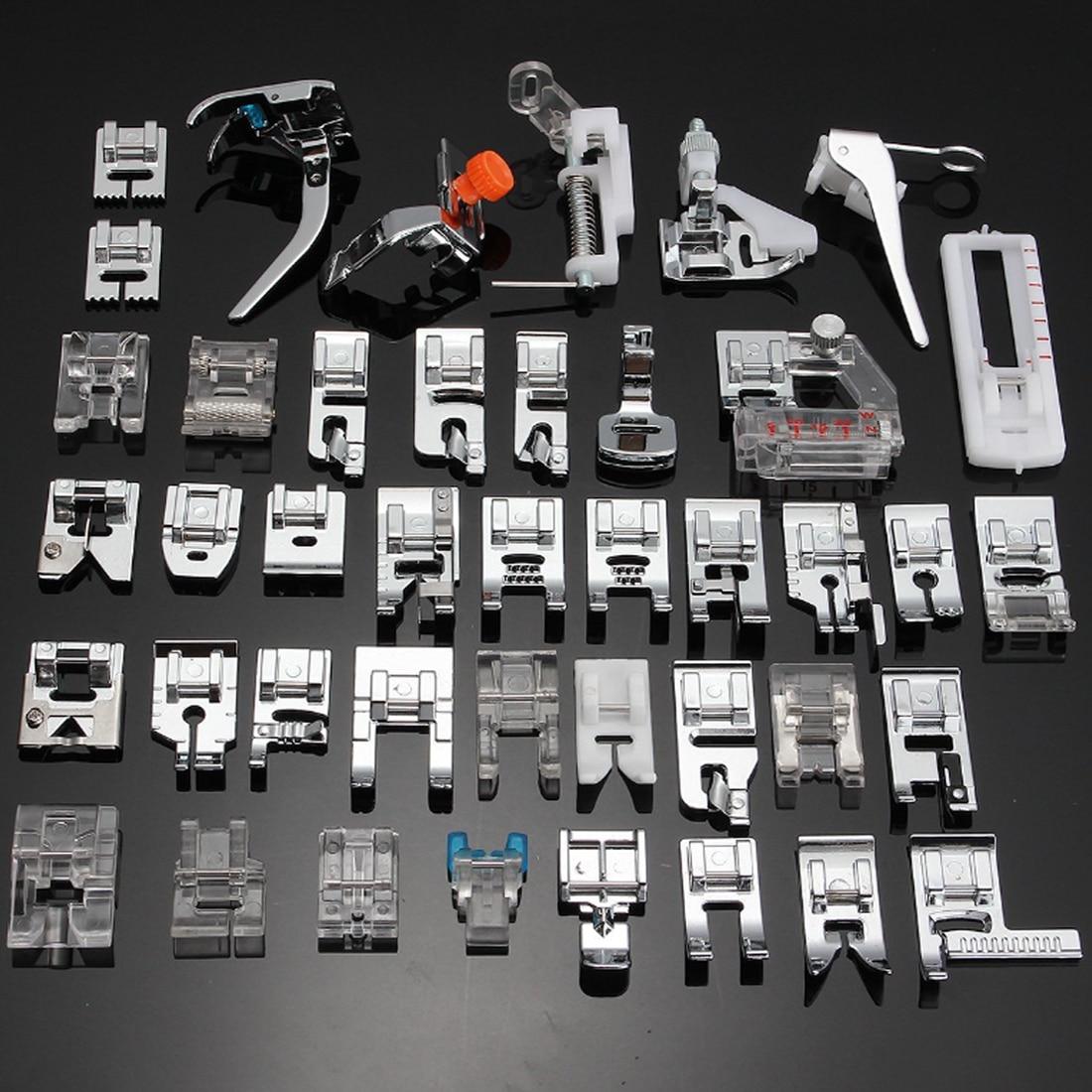 42 pçs máquina de costura suprimentos presser pé pés para máquinas de costura pés kit conjunto de ferramentas de costura para o irmão cantor janome