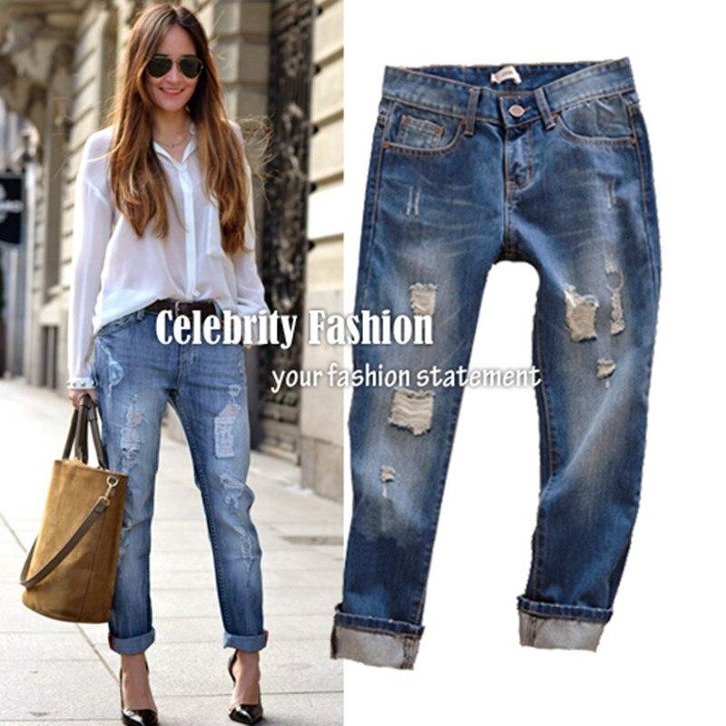 Aliexpress.com : Buy 2017 Rolled Up Women's Boyfriend Ripped Jeans ...