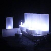 Paquete de 12 boda blanco sin llama LED recargable Velas, que cambia de color sin llama LED Velas para el partido