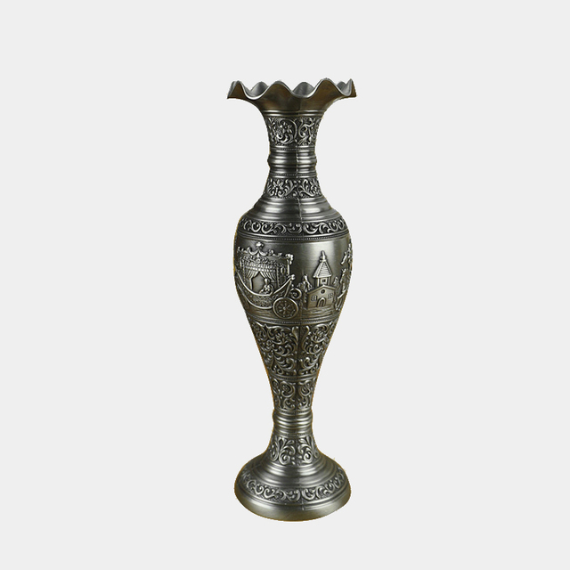 Hot Sale Tabletop Small Metal Vase For Flower Zinc Alloy Retro
