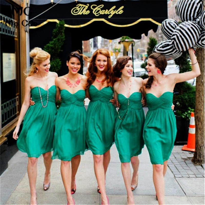 Sexy Green   Bridesmaid     Dresses   2019 Wedding Party   Dress   Sweetheart Sleeveless Chiffon Knee Length   Bridesmaid   Gown Custom Made