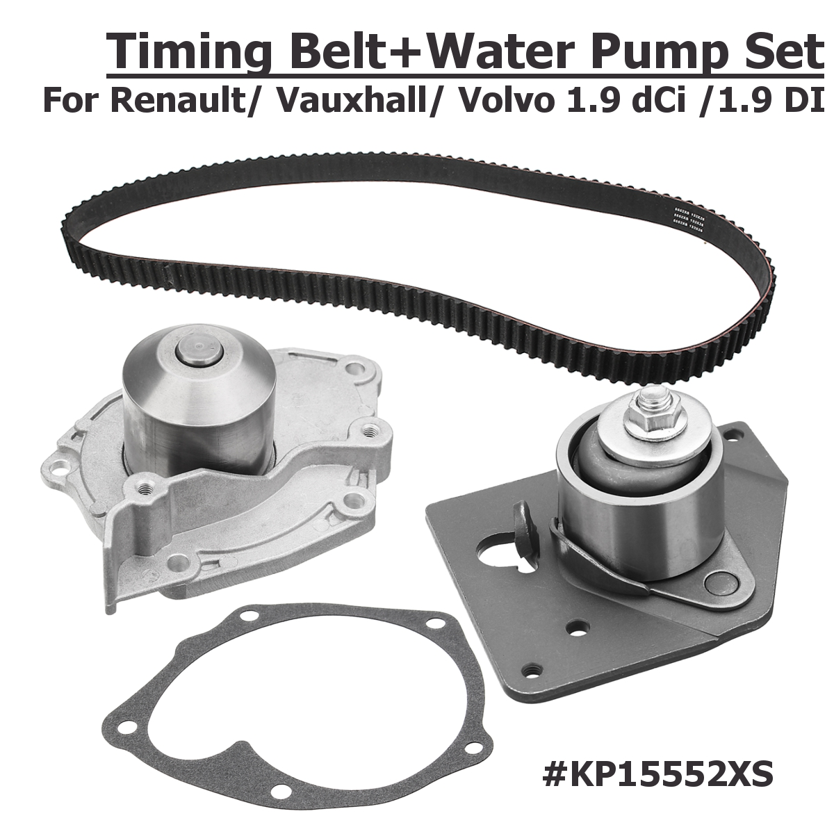 For Renault for Vauxhall for Volvo 1.9 dCi for 1.9 DI Engines 201523385842 GATES KP15552XS Timing Belt+Water Pump Set
