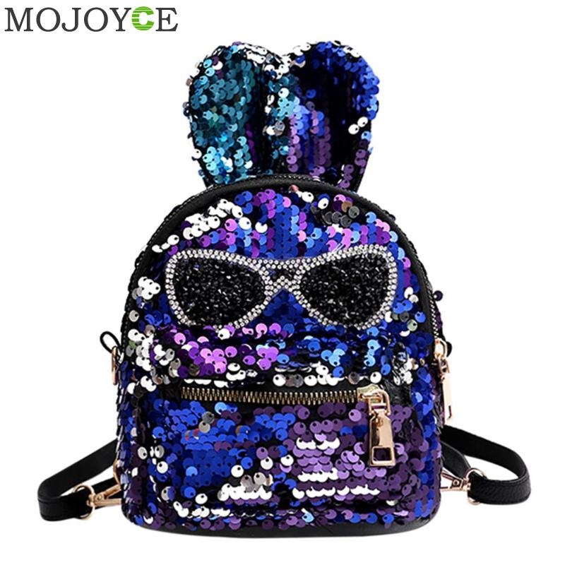 Shiny Mini Sequins Backpack With Embroidery Glasses Cute Rabbit Ears Glitter Shoulder Bags For Women Girls Travel Bag Bling2018Shiny Mini Sequins Backpack With Embroidery Glasses Cute Rabbit Ears Glitter Shoulder Bags For Women Girls Travel Bag Bling2018