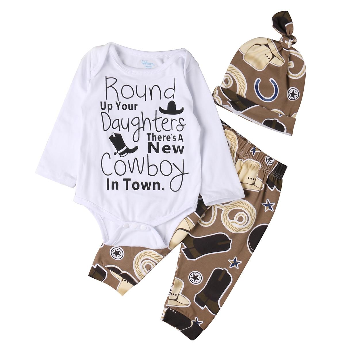 Pudcoco Cowboy Newborn Baby Girl Boy Clothes Long Sleeve Cotton Romper Jumpsuit Pant Hat 3PCS Outfits Bebes Clothing Baby Suit