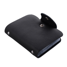 Genuine leather business card holder men and women, 26 slots, 12 colors