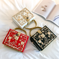 New 2017 Winter Golden Diamond Decoration Women Handbag With Pearl Luxury Evening Party Clutch Women S