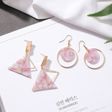 2018 Silver Needle Fashion Korean Pink Girl Earrings Triangle Geometry Acrylic Cute Drop Earrings for Women Jewelry Accessories