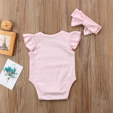 Newborn Baby Girls clothes letter print round neck sleeveless Ruffle Bodysuit Bow Headband 2pc kids Toddler cotton Outfits