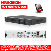 NINIVISION AHD CCTV 4CH DVR HDMI 1080p Digital Video Recorder DVR For Security CCTV Camera System PTZ Camera with 1TB Hard disk