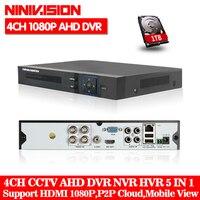 NINIVISION AHD CCTV 4CH DVR HDMI 1080 P цифрового видео Регистраторы DVR для безопасности CCTV Камера Системы PTZ Камера с 1 ТБ жесткий диск