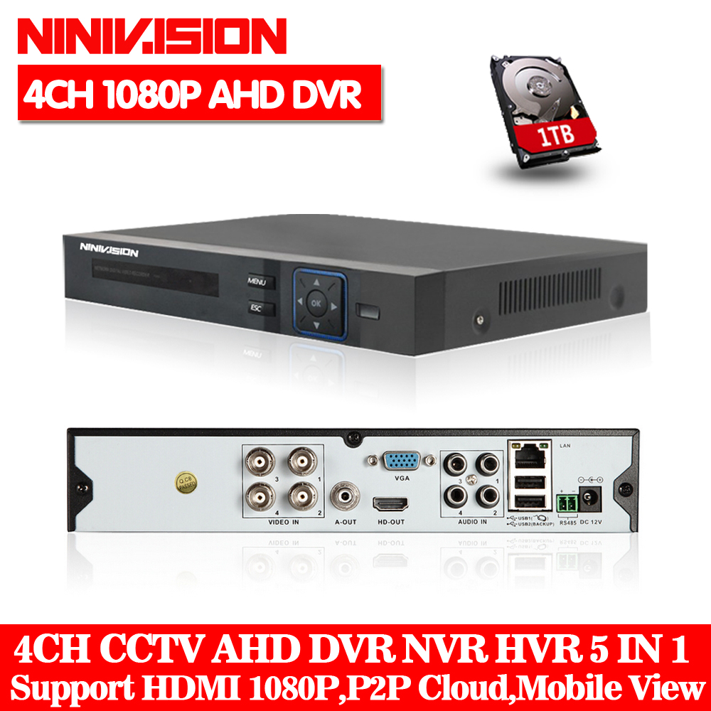 NINIVISION AHD CCTV 4CH DVR HDMI 1080p Digital Video Recorder DVR For Security CCTV Camera System PTZ Camera with 1TB Hard disk