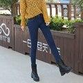 Pantalones Vaqueros calientes Para Las Mujeres 2016 Espesar Pantalones de Invierno Pantalones de Estiramiento Hembra Recta Moda de Cintura Alta Jeans Mujer Denim Pantalones Lápiz