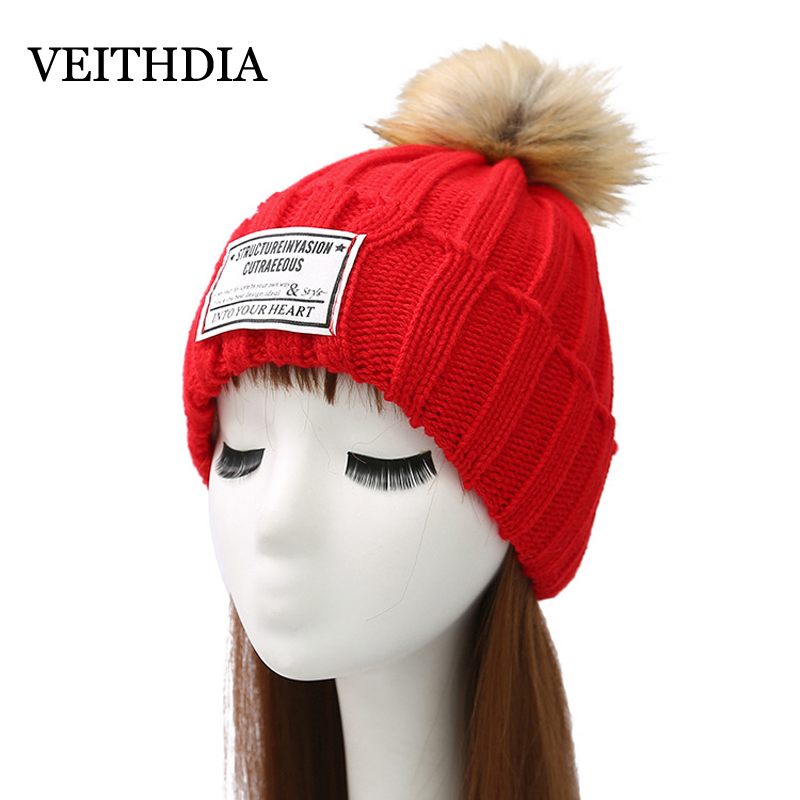 VEITHDIA Mink and fox fur ball cap pom poms winter hat for women girl 's hat knitted beanies cap brand new thick female cap 2 4pcs new for ball uff bes m18mg noc80b s04g