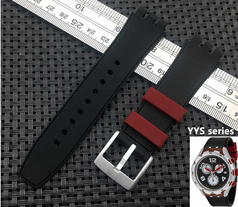 Top Quality Black red Diving 20mm*25mmm Silicone Rubber Watchband For Swatch strap watch band Red wheel YYS4004 YYS series